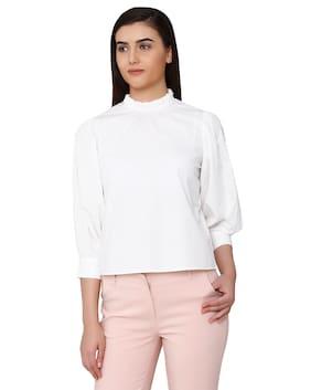 Vero Moda Women Cotton Solid - Regular Top White
