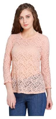 Vero Moda Women Cotton Geometric - A-line top Pink