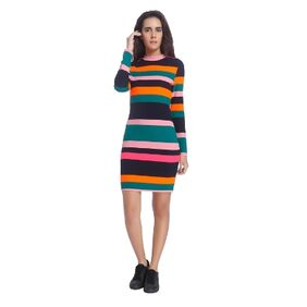 Vero Moda Women Multicolor Striped Casual High Neck Midi/knee Length Dress