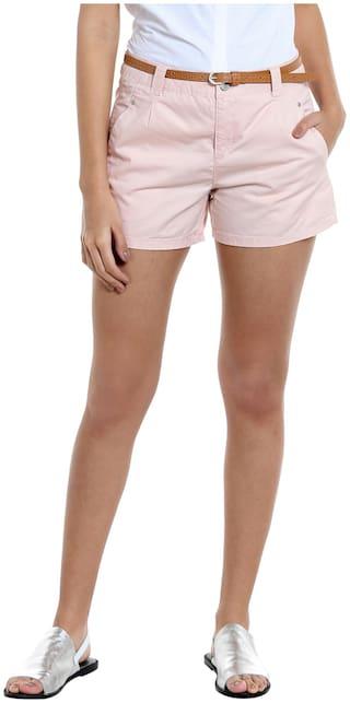 Vero Moda Women Solid Regular shorts - Pink