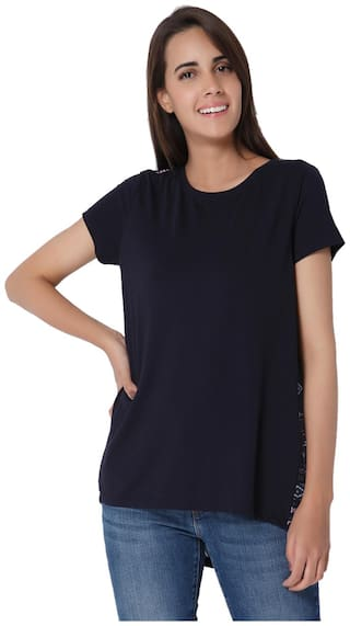 Vero Moda Women Blue Regular fit Round neck Cotton T shirt
