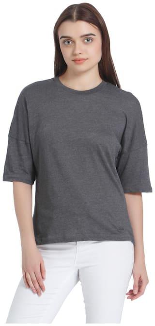 Vero Moda Women Geometric Round neck T shirt - Grey
