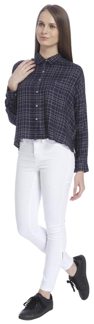 Checks Moda Blazer Vero Women's Navy Shirts RIdwxBUqx