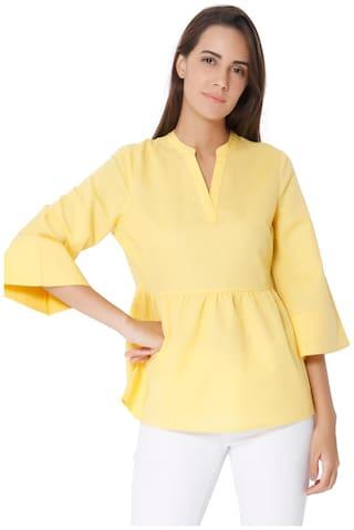 Vero Moda Women Viscose Solid - A-line top Yellow