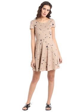 Vero Moda Printed Dress - Beige