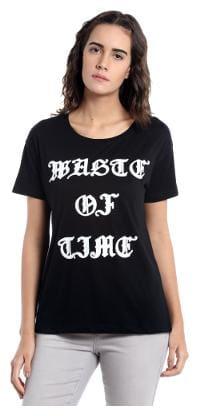 Vero Moda Women Geometric Round neck T shirt - Black