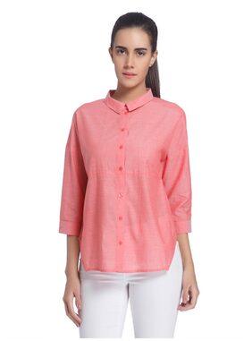 Vero Moda Women Regular Fit Solid Shirt - Pink