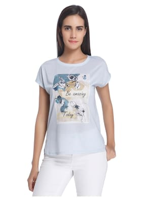 Vero Moda Printed Blue T Shirt