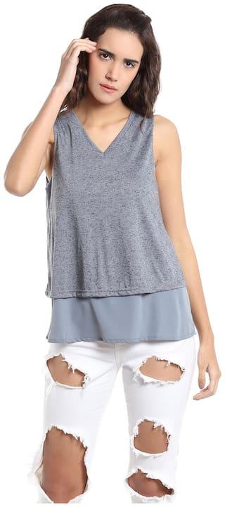 Vero Moda Women Grey Regular fit V neck Cotton T shirt