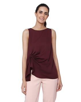 Vero Moda Women Polyester Solid - Regular Top Brown