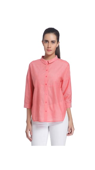 Vero Moda Women Peach Solid Casual Wear Shirt
