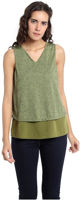 Vero Moda Women Geometric V neck T shirt - Green