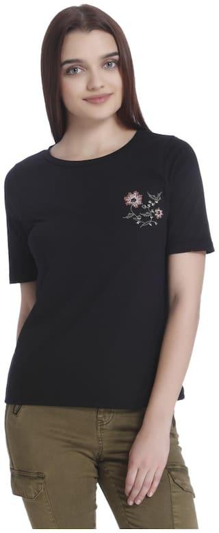 Vero Moda Women Cotton Embroidered - Regular top Black