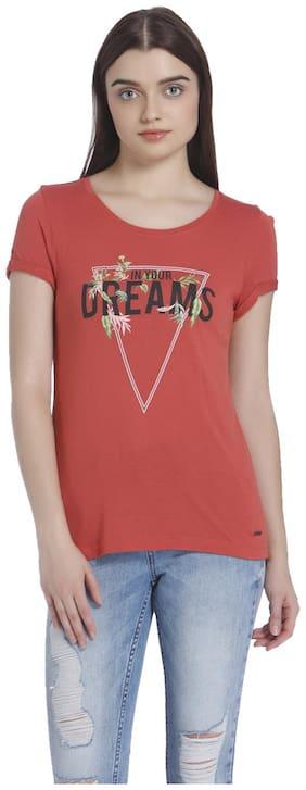 Vero Moda Women Printed Round neck T shirt - Maroon