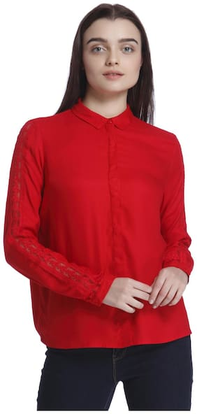 Vero Moda Women Regular fit Lace Shirt - Red