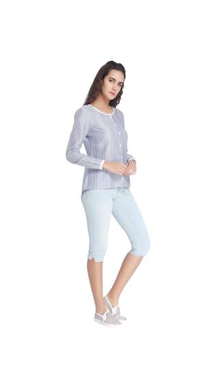 Women Moda Shirt Blue White Vero Casual Striped vTpwCnZq