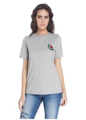 Vero Moda Women Gray Solid Casual T-shirt
