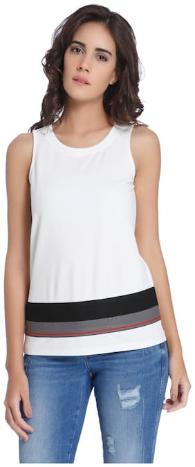 Vero Moda Women Geometric Round neck T shirt - White