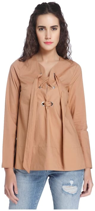 Vero Moda Women Solid Regular top - Orange
