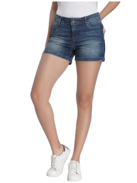 Vero Moda Women Solid Shorts - Blue