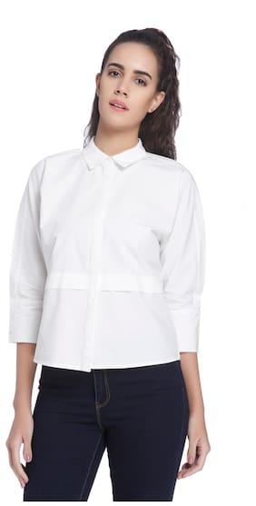 Vero Moda Women White 3/4th Sleeve Solid Collar Neck Shirt