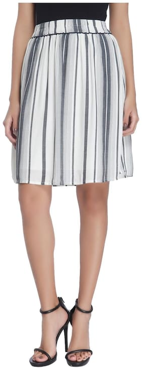 Vero Moda Women White Striped Casual Skirt