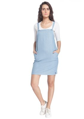 Vero Moda Women Light Blue Solid Casual Dress