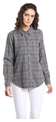 Vero Moda Women Regular fit Checked Shirt - Grey