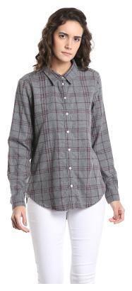 Vero Moda Women Regular fit Checked Shirt - Grey