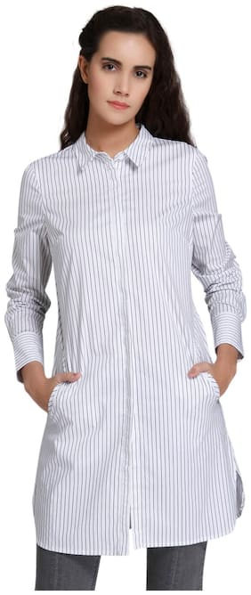 Vero Moda Women Regular fit Striped Shirt - White