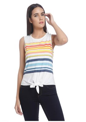 Vero Moda Women White Striped Casual Top