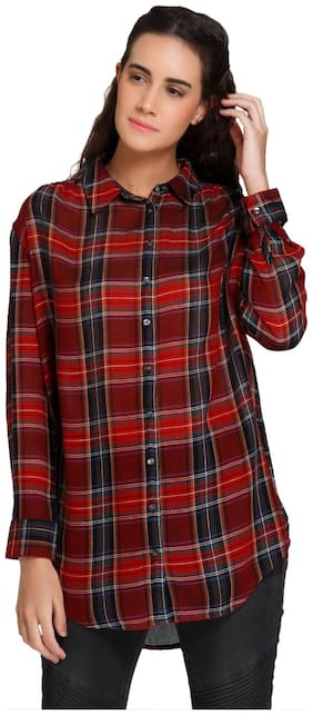 Vero Moda Women Regular fit Checked Shirt - Maroon