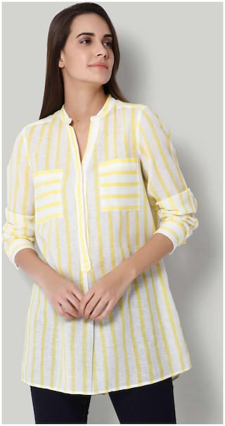 Vero Moda Women Striped Regular tunic - Yellow