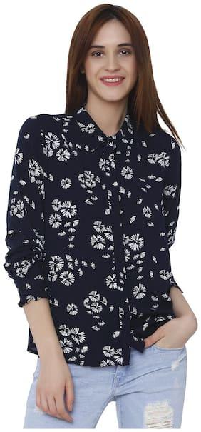 Vero Moda Women Regular Fit Printed Shirt - Blue