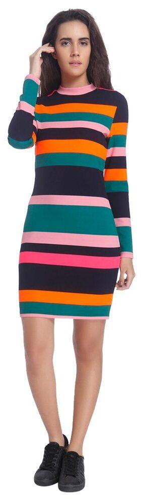 Vero Moda Women Multicolor Striped Casual High Neck Midi/knee Length Dress