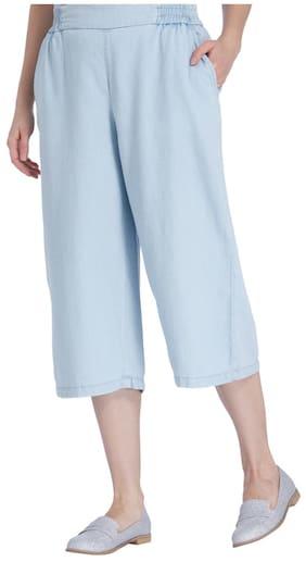 Vero Moda Women Regular Fit Low Rise Geometric Pants - Blue