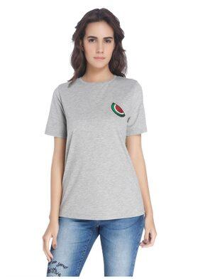 Vero Moda Women Gray Solid Casual T-shirt