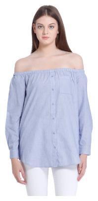 Vero Moda Women Cotton Geometric - A-line top Blue