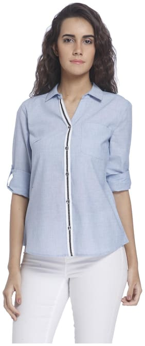 Vero Moda Women Slim fit Solid Shirt - Blue