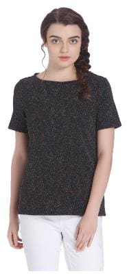 Vero Moda Women Geometric Round neck T shirt - Black