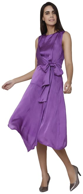 Vero Moda Polyester Solid Wrap Dress Purple