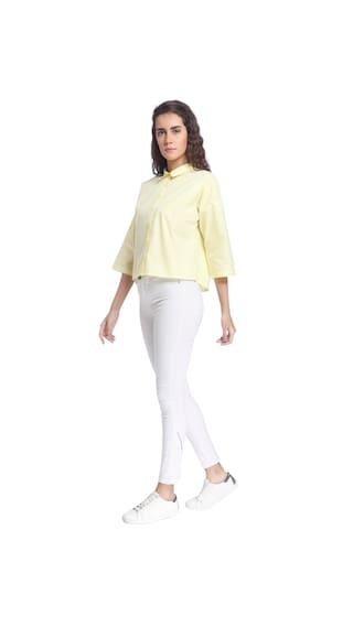 Yellow Casual Solid Moda Light Women Vero Shirt Wear xqO6wZxFt