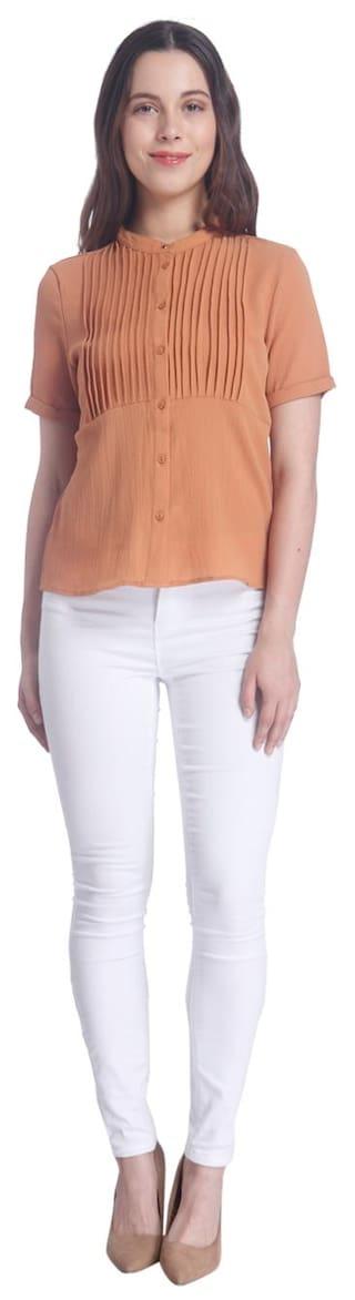 Solid Shirt Moda Vero Casual Brown Women's xqHtt70