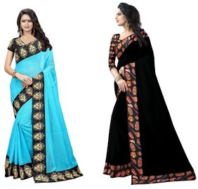 Veronika Closet Party Wear Multi Color Chanderi  Silk Border Work Saree