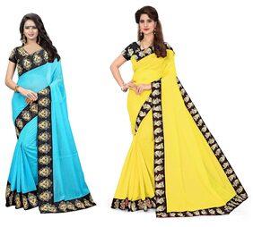 Veronika Closet Party Wear Multi Color Chanderi  Silk Border Work Saree