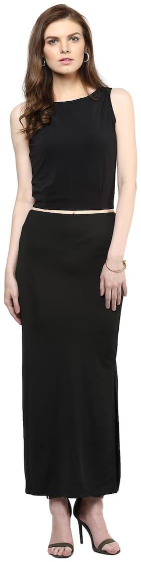 Veronique Solid A-line skirt Maxi Skirt - Black