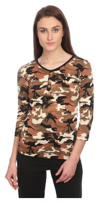 VERONIQUE WOMEN'S MULTICOLOR COTTON KNIT 3/4TH SLEEVE HIP LENGTH REGULAR ROUND NECK CASUAL PRINTED TOP