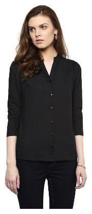 Veronique Women Black Solid Regular Fit Shirt