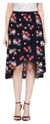 Veronique Solid A-line skirt Midi Skirt - Blue