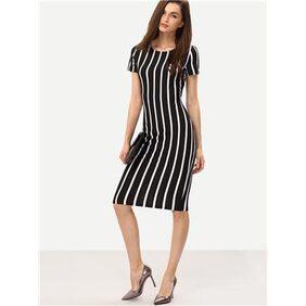 Vertical Striped Long Sheath Dress